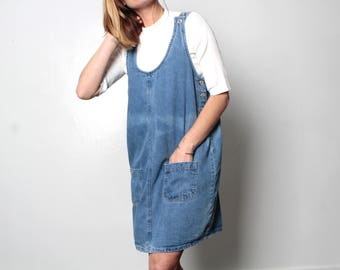 90s BLUE faded denim jean JUMPER overall OXFORD faded dress
