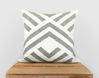 16x16 Aztec Decorative Pillow Case, Cushion Cover | Hand Printed Mineral Gray and White Geometric Chevron | Minimalist and Modern Home Decor