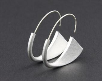 Suki Earrings: Silver, 3D printed acrylic earrings in silver acrylic paint