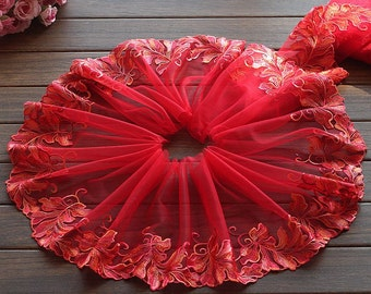 2 Yards Lace Trim Red Leaf Embroidered Scalloped Tulle Lace 8.66 Inches Wide High Quality