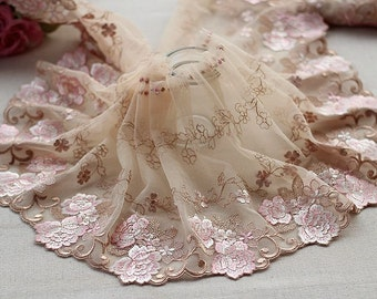 2 Yards Lace Trim khaki Flower Floral Embroidered Scalloped Tulle Lace 7.48 Inches Wide High Quality