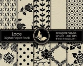 40% off Lace Paper Pack - 10 Printable Scrapbooking Digital papers - 12 x12 - 300 DPI
