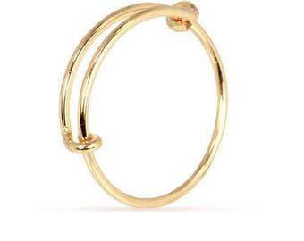 Finger Rings, Adjustable Ring, 14Kt Gold Filled, Size 5 - 7 - 1 Pc Wholesale Price (11623)/1