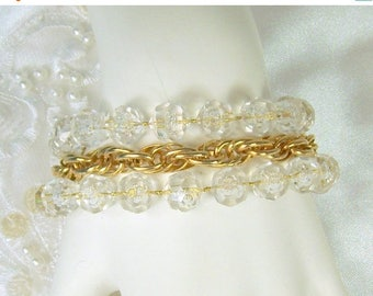 Spring Special Sale Vintage Sarah Coventry Bracelet Golden Ice Gold Tone Chain Faceted Lucite Beads Fancy Clasp