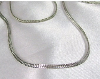 Spring Special Sale Vintage Whiting & Davis Flat Cobra Chain Necklace Silver Tone 27""