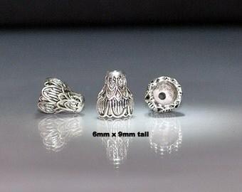 7 pcs 6x9mm Antique Silver Bead Caps Cones