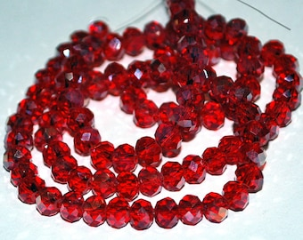 24 pcs 6x4mm Transparent Red Luster Rondelle Glass Beads