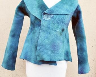 BIG SALE - Jacket, felted jacket, felt, wool, merino wool, collar, fibre art, gift, size Small