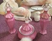 Vintage 3 piece German Pink Ballerina Powder Puff Set 1920-1940s