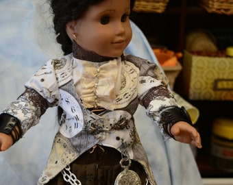 18 in doll clothes Steampunk skirt gears lace up brown jacket clocks chains lined jacket blouse lace hat gears feathers pocket watch