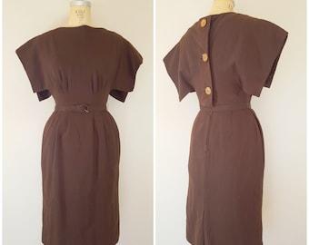 Vintage 1950s L'Aiglon Dress / Kimono Sleeve Brown Dress / Wiggle Dress / Small