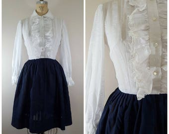 Vintage 1960s Dress / White and Navy Blue / Ruffle Top / Fit N Flare / XS-Small