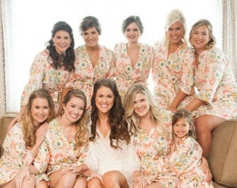 BACKORDERED UNTIL JULY. Peach Bridesmaid Robes. Bridesmaid Pajamas. Bridal Robe. Pink Bridesmaids Robes. Pink Posie Collection.