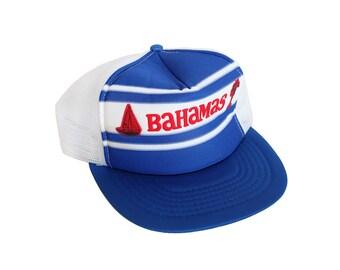 Vintage BAHAMAS Red White & Blue Mesh Panel Snapback Trucker Hat