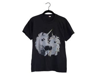 Vintage Distressed Double Unicorn Transfer Tee Super Soft Thin 50/50 Poly-Cotton Blend Black T-Shirt, Made in USA - Small