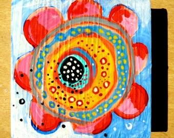 flower, pink and blue flower, 4 x 4, original painting, acrylic painting, painting of flower, seeds of love