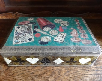 Vintage French Cards Dice Games Chess Decorated Tin Canister circa 1940's / English Shop