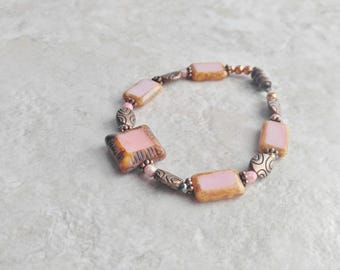 Bracelet pink and copper, magnetic, womens fashion, spring fashion, Mothers day gift, wedding jewelry, gift for daughter, layering bracelet