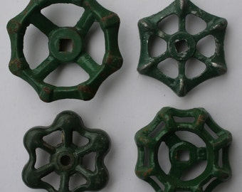 Valve handles- 4 Shabby Chic -Green Variety-Shipping Special-Garden Spigot Handles-Water Knobs-Funky Metal Handles-Garden Handles