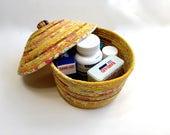 Covered Coiled Rope Basket  Lidded Gold Bowl - Quilted Fiber Art Clothesline Organizer   Fiber Art  Sally Manke Home Decor  Storage Basket