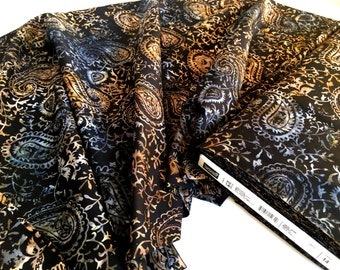 Batik Fabric Yardage - Timeless Treasures  Black, Tan, Blue - Discount Fabric - Quilting Cloth - Quiltsy - By The Yard  100% Cotton