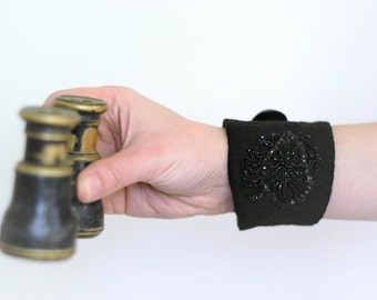 victorian black wrist cuff - linen wrist cuff - black vintage trims - noire - mothers day gift - gift for her