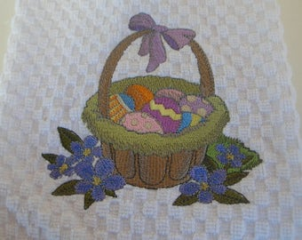 Easter Basket Waffle Weave or Flour Sack Tea Towels Embroidered Cotton for Hostess Gift, Teacher's Gift, Shower, or Wedding