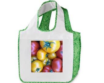 Farmers Market Mixed Tomato Modern Weave  Reusable Shopping Bag