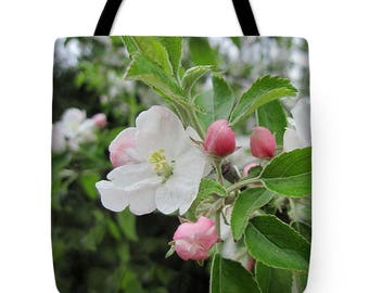 Apple Blossom Tote Bag, Grocery Tote Bag, Flower Tote Bag, Spring Tote Bag, Beach Tote Bag, Patrushka Flower Totes, FREE SHIPPING USA