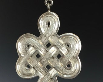 Sterling Silver Celtic/Buddhist Knot with Chrysoprase Hand Carved Hand Made Pendant