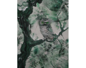 Little owl, giclee print on paper, batik, animal, nature, Woodland, cute owl, winter landscape, shabby, vintage view, forest, giclee print