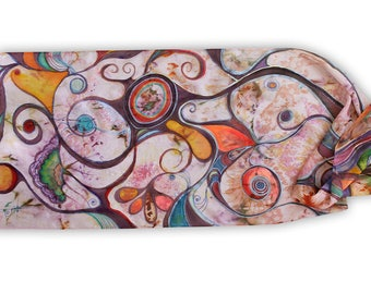 Painted silk scarf with abstract pattern, cheerful colors, multicolored spirals, curls, helix, circles, rings, pure silk chiffon, batik