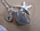 Soft Gray Sea Glass Necklace Personalized Grey Sea Glass Jewelry with Hand Stamped Initial Charm Starfish Necklace Real Beach Glass Jewelry