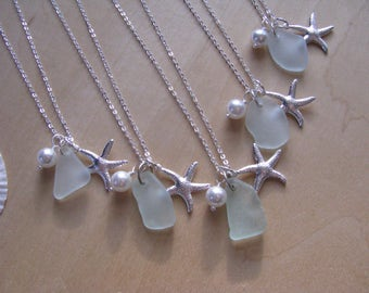 SeaGlass Necklaces Bridesmaid Gifts Aqua Beach Glass Jewelry Starfish Necklaces Real Sea Glass