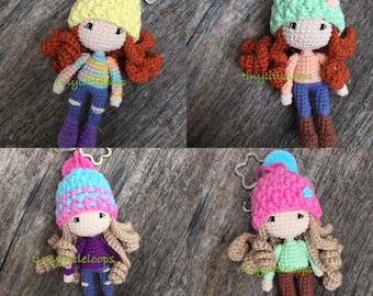 Crochet doll, Handmade doll, Amigurumi doll, Crochet doll keychain, bagcharm, Cute crochet, Crochet Keychain