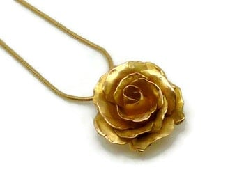 Forged 18k Gold Rose Pendant or Necklace