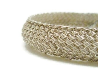 Domed Woven Silver Cuff - Thin Braided Bracelet