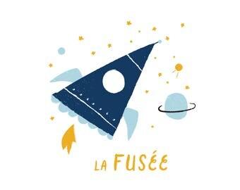 French Rocket Print Illustration