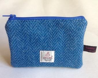 Harris Tweed blue herringbone coin purse, zipped coin pouch, change purse, scottish gift, friend gift