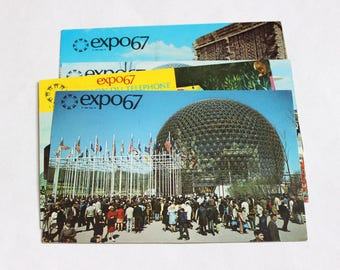 4 Vintage Montreal Canada Expo 67 Chrome Postcards Used