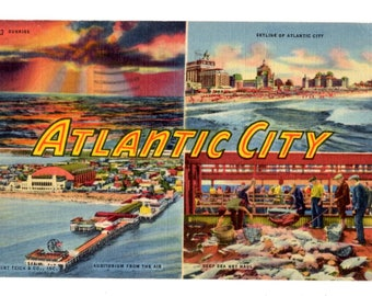 Greetings from Atlantic City New Jersey Vintage Postcard