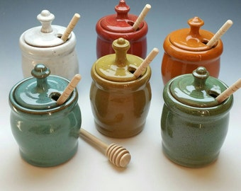 NEW Honey Pot, (FREE POTTERY Gift with order!) Handmade Ceramic Jar and Dipper, (several available colors)