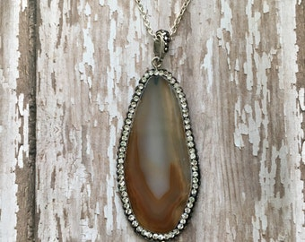 Gorgeous pave agate slice necklace