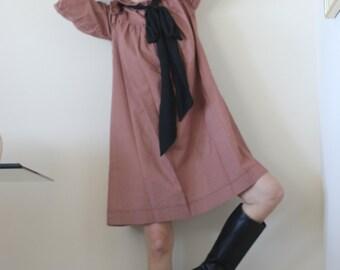 Vintage 70s 80s Prairie Sack Dress Gingham Babydoll Open Ruffle Dress xs s