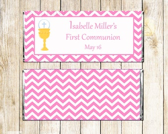 Pink White Chevron 1st Holy Communion Candy Bar Wrappers - Chalice Girl First Communion Candy Labels - Girl Communion Candy Labels