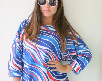 Vintage GROOVY Top...size medium large womens...retro. funky. twiggy. disco. geometrical. shirt. top. blouse. 1970s clothing. red white blue