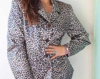 1990s LEOPARD Blazer Jacket..retro. 1980s. rad. 1990s. cardigan. jacket. high fashion. hipster. animal print. cat. made in USA. hollywood