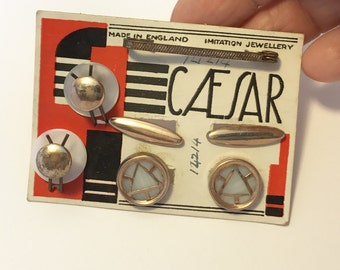 Vintage Mens Jewelry CAESAR New Old Stock on Original Card Cufflinks and Shirt Studs