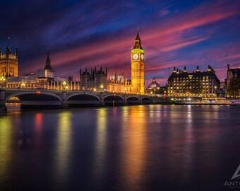 Big Ben Westminster Sunset - London photo british decor England print Britain UK photo art print