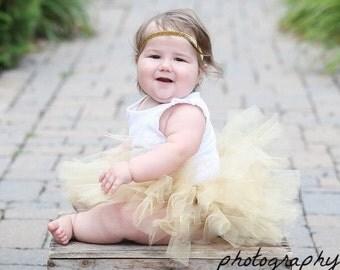 Gold Baby Tutu and Glitter Headband - Tutu - Baby Tutu - Gold Tutu - Baby Tutu - Gold Tutu Set - Tutu Dress - Newborn Tutu - Toddler Tutu